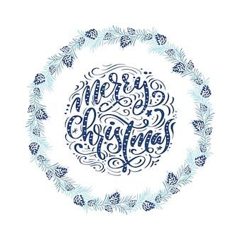 Wesołych świąt bożego narodzenia napis z wieńcem w stylu skandynawskim