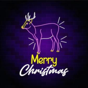Wesołych świąt bożego narodzenia neon jelenia