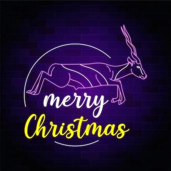 Wesołych świąt bożego narodzenia neonowy znak ze skaczącym jeleniem