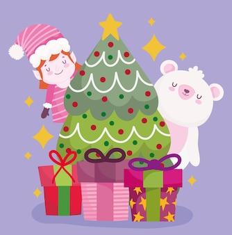 Wesołych świąt bożego narodzenia niedźwiedź pomocnik drzewo i prezenty dekoracja i ilustracja uroczystości