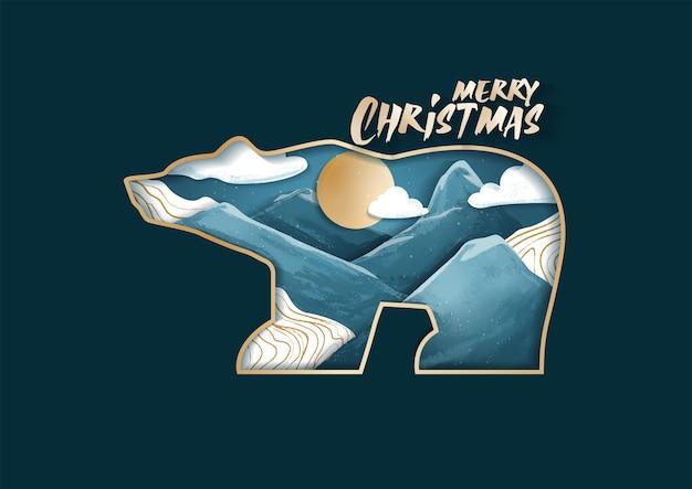 Wesołych świąt bożego narodzenia niedźwiedzia polarnego