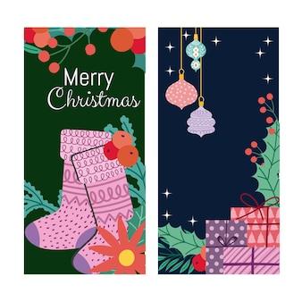 Wesołych świąt bożego narodzenia obsady kule kwiatowe i baner prezenty