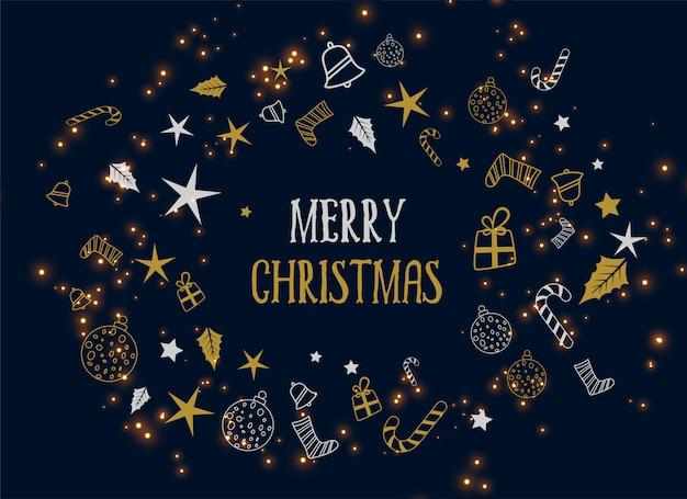 Wesołych świąt bożego narodzenia ozdoba ciemne tło