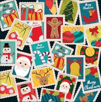 Wesołych świąt bożego narodzenia ozdoba sezon znaczki ikony ilustracja
