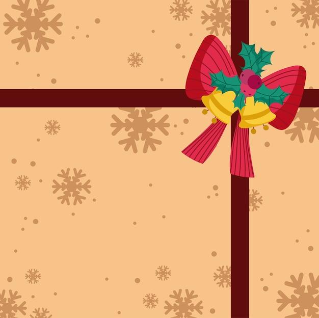 Wesołych świąt bożego narodzenia ozdobny prezent łuk i dzwonki tło