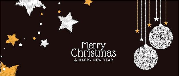 Wesołych świąt bożego narodzenia ozdobny świąteczny projekt transparentu