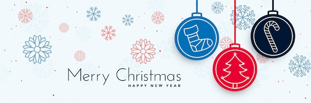 Wesołych świąt bożego narodzenia ozdobny transparent z elementami xmas