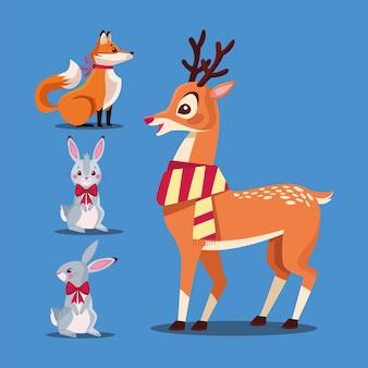Wesołych świąt bożego narodzenia pakiet ilustracji postaci zwierząt