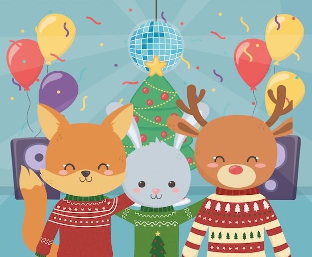 Wesołych świąt bożego narodzenia party renifer lis i królik