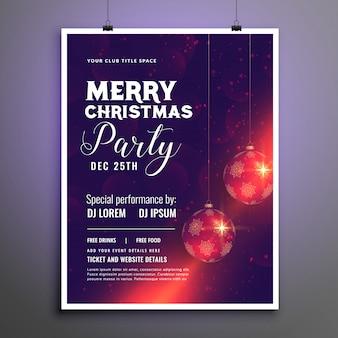 Wesołych świąt bożego narodzenia party szablon ulotki uroczystości