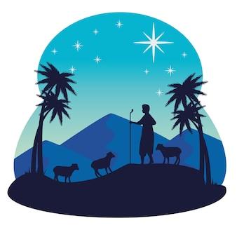 Wesołych świąt bożego narodzenia pasterz i owiec projekt, sezon zimowy i dekoracje