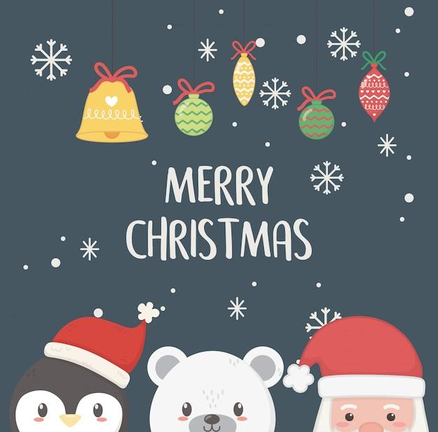 Wesołych świąt bożego narodzenia pingwina i niedźwiedzia polarnego