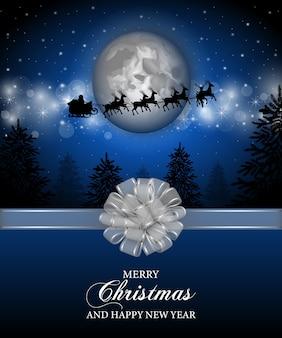 Wesołych świąt bożego narodzenia plakat z pejzażem bożonarodzeniowym i srebrną kokardką