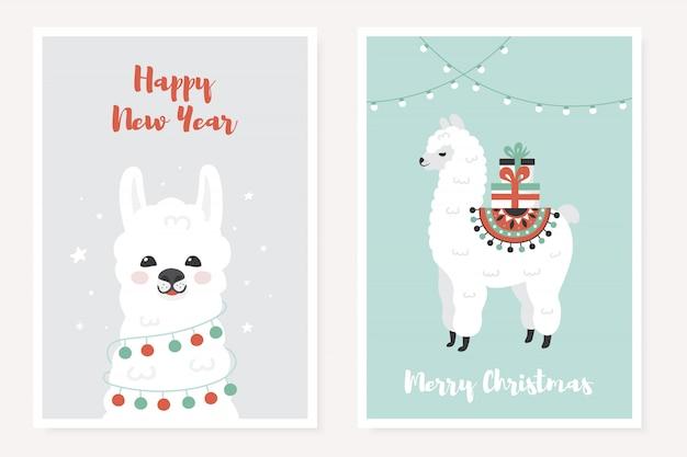 Wesołych świąt bożego narodzenia plakaty okolicznościowe zestaw z cute lamy.