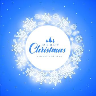 Wesołych świąt bożego narodzenia płatki śniegu dekoracyjne tło ramki