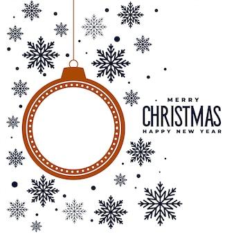 Wesołych świąt bożego narodzenia płatki śniegu i piłka tło