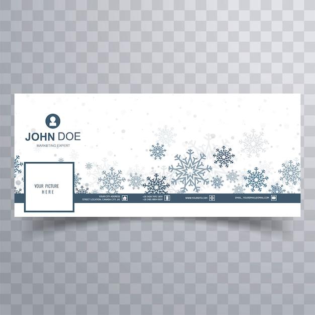 Wesołych świąt bożego narodzenia płatki śniegu transparent szablon wektor