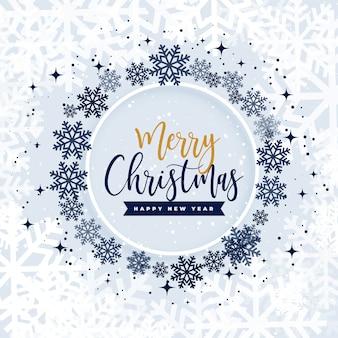 Wesołych świąt bożego narodzenia płatki śniegu w ramce koło
