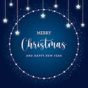 Wesołych świąt bożego narodzenia pocztówka z błyszczącymi gwiazdami na niebieskim tle