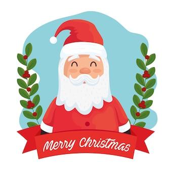 Wesołych świąt bożego narodzenia postać świętego mikołaja z ilustracyjną ramą wstążki