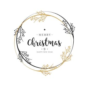 Wesołych świąt bożego narodzenia pozdrowienia tekstu wieniec
