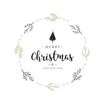 Wesołych świąt bożego narodzenia pozdrowienie koło gałęzi tekstu