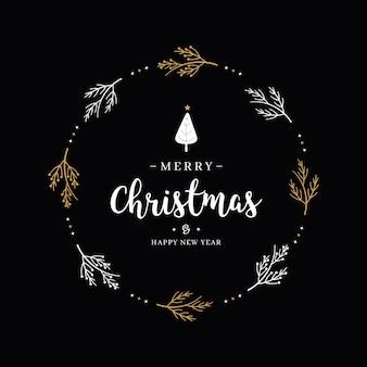 Wesołych świąt bożego narodzenia pozdrowienie tekst gałąź koło czarne tło