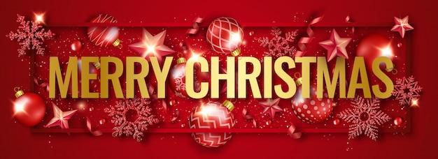 Wesołych świąt bożego narodzenia poziomy baner z błyszczącymi płatkami śniegu, wstążkami, gwiazdami i kolorowymi bombkami