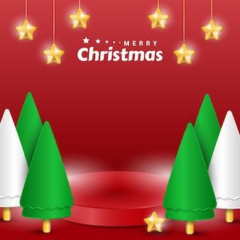 Wesołych świąt bożego narodzenia prezentacja produktu na scenie z realistyczną nowoczesną dekoracją drzewa i gwiazdy