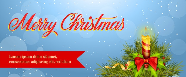 Wesołych świąt bożego narodzenia projekt banera. płonąca świeca