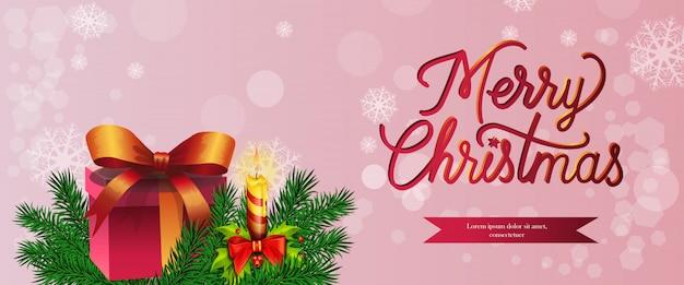 Wesołych świąt bożego narodzenia projekt banera. prezent, płonąca świeca
