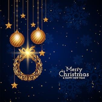 Wesołych świąt bożego narodzenia projekt dekoracyjny niebieski tło