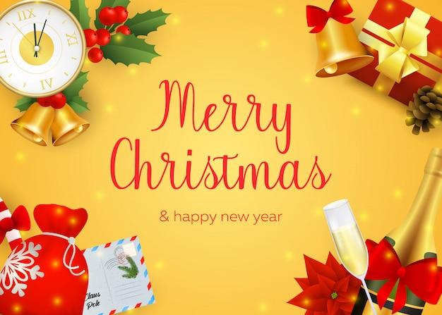 Wesołych świąt bożego narodzenia projekt karty z pozdrowieniami z szampanem