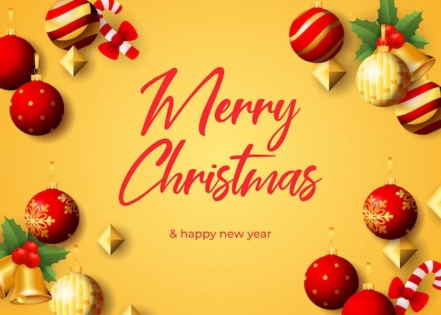 Wesołych świąt bożego narodzenia projekt karty z pozdrowieniami z wiszące kulki