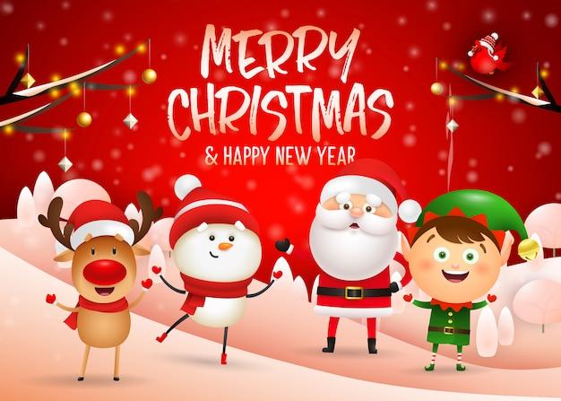Wesołych świąt bożego narodzenia projekt na czerwonym tle zimy