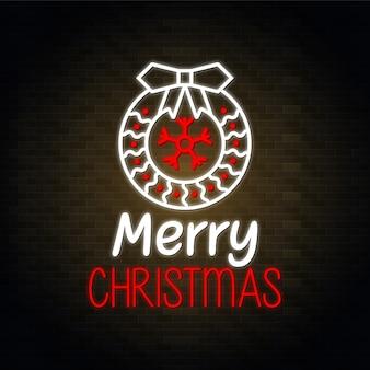 Wesołych świąt bożego narodzenia projekt neon wektor - czerwony i biały kwiatowy wzór wektor
