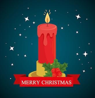 Wesołych świąt bożego narodzenia projekt świecy, sezon zimowy i dekoracja