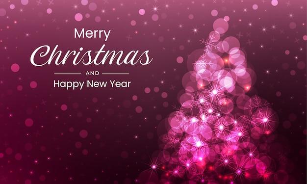 Wesołych świąt bożego narodzenia projekt tła z musującego różowego drzewa