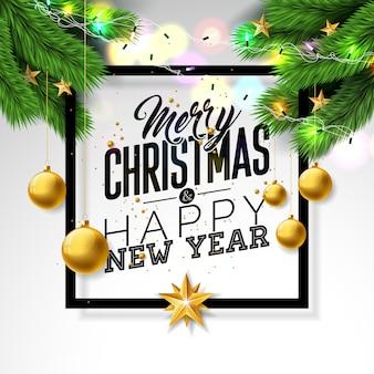 Wesołych świąt bożego narodzenia projekt z gałęzi sosny i ozdobnych piłkę