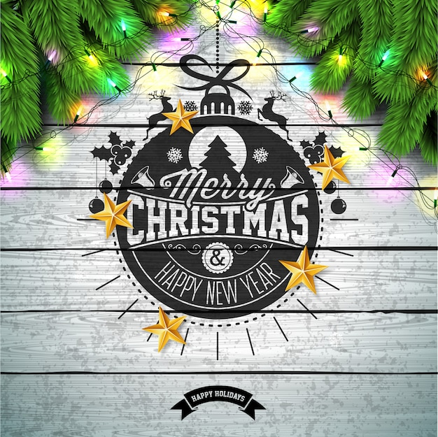 Wesołych świąt bożego narodzenia projekt z gold glass ball i pine branch