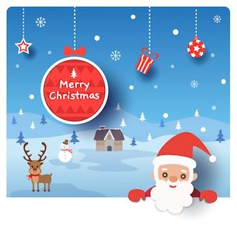 Wesołych świąt bożego narodzenia projekt z mikołajem i domem