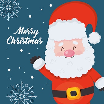 Wesołych świąt bożego narodzenia projekt z uroczym mikołajem na niebieskim tle.