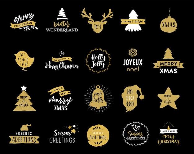 Wesołych świąt bożego narodzenia ręcznie rysowane karty, kolekcja projektów napisów