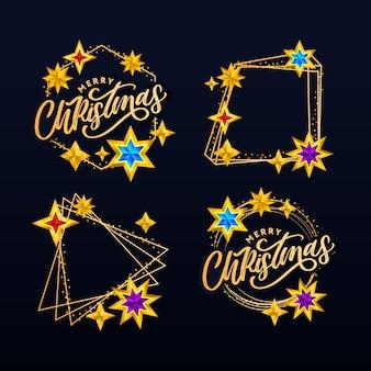 Wesołych świąt bożego narodzenia ręcznie rysowane napis i gwiazdy
