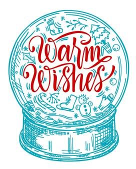 Wesołych świąt bożego narodzenia. ręcznie rysowane - świąteczna kula śnieżna z bałwanem, akcesoria świąteczne, jodła i napis hello winter.