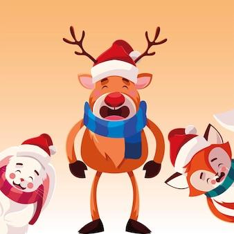 Wesołych świąt bożego narodzenia renifer królik i lis, sezon zimowy i motyw dekoracji