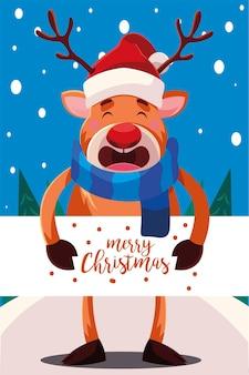 Wesołych świąt bożego narodzenia renifer z banerem, sezonem zimowym i motywem dekoracji