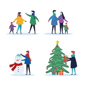 Wesołych świąt bożego narodzenia rodzina z prezentami sosny i zestawem scen bałwana