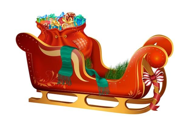 Wesołych świąt bożego narodzenia sanie z wieloma prezentami