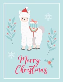 Wesołych świąt bożego narodzenia śliczna kartka z alpaką lamy w czapce mikołaja. szablon ferie zimowe nowy rok